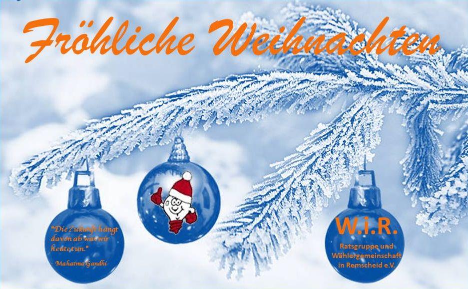 W.i.R. wünschen Frohe Weihnachten!