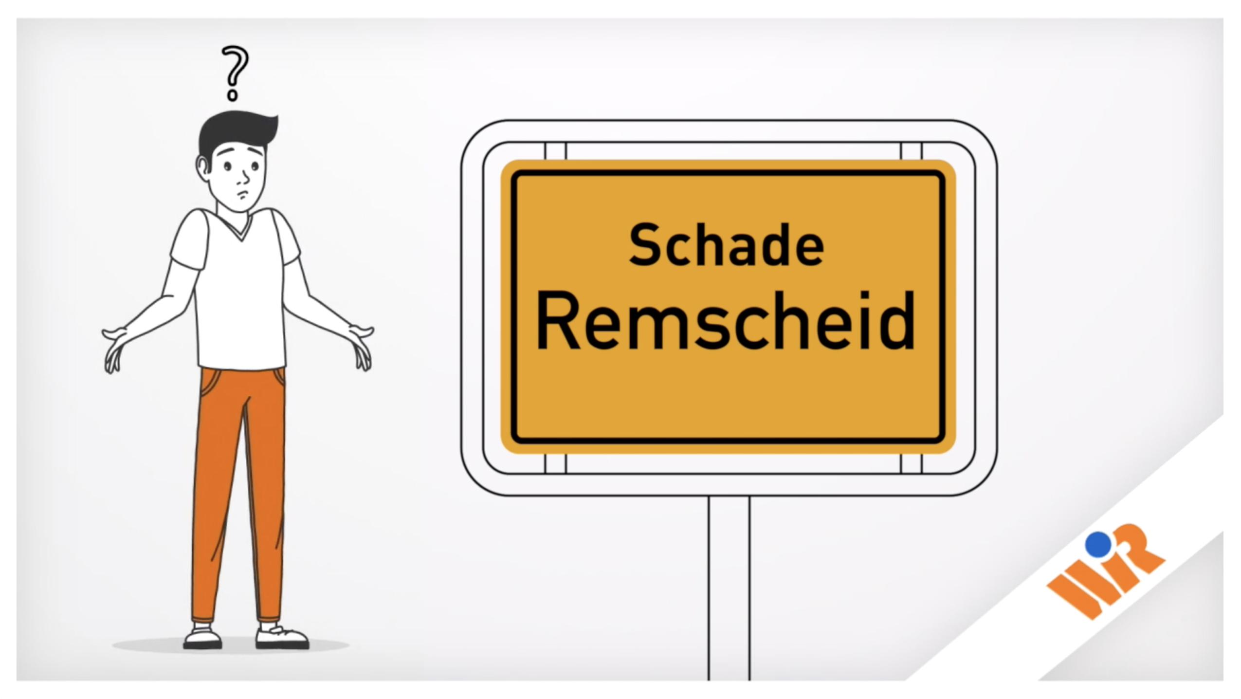 """Ortsschild Remscheider mit dem Zusatz """"Werkzeug- und Röntgenstadt"""""""